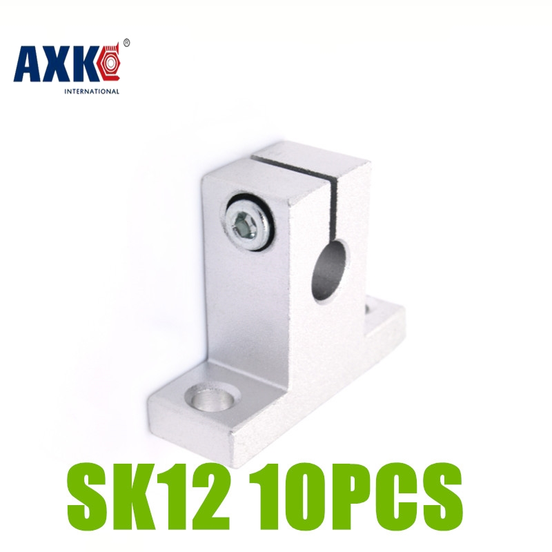 AXK 10PCS SK12 12mm linear rail shaft support block for cnc linear slide bearing guide Parts SK12 axk sc8uu scs8uu slide unit block bearing steel linear motion ball bearing slide bushing shaft cnc router diy 3d printer parts