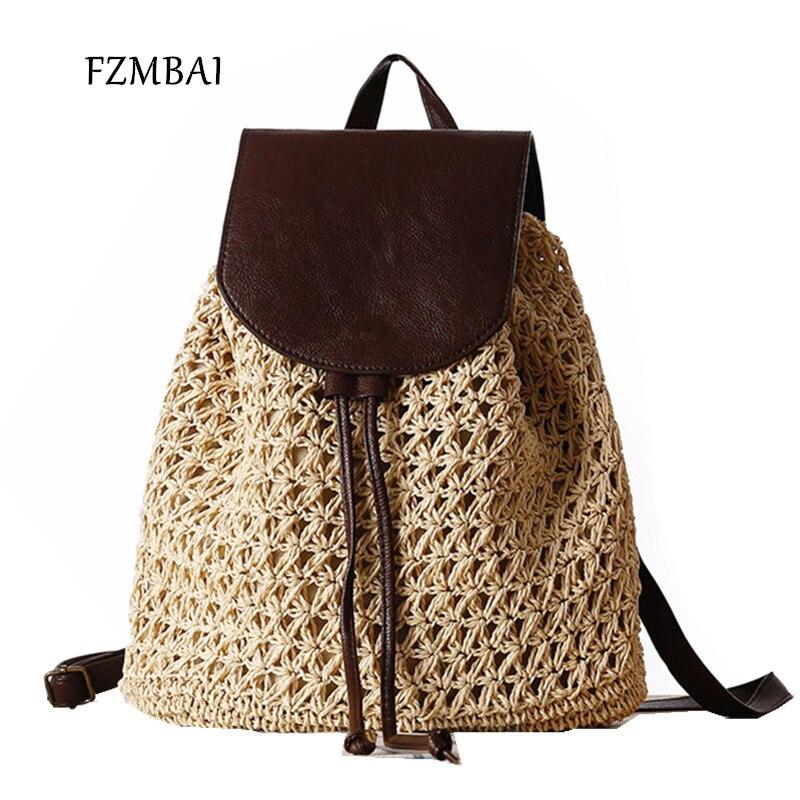 FZMBAI 새로운 트렌드 밀짚 비치 백 여성 캐주얼 위브 여행 백팩