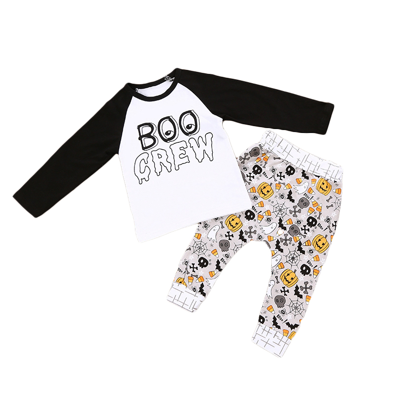 Halloween Children Baby Boys Girls Clothing Set Patchwork Long Sleeve Top+ Pants Suit Ba ...
