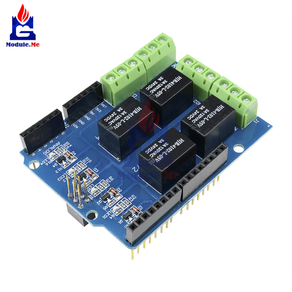 Relay Shield Interface 5V 4 Four Channel Module For Arduino Signal Control Power Expansion Drive Board DC 3.3v 5v Red  Indicator 3