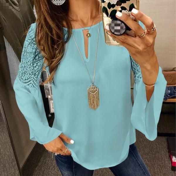 Elegant Lace   Blouses     Shirts   Women Hollow Out Office   Blouse   2018 Plus Size O Neck   Blouses   Top S-5XL Femme Clothes SJ233K