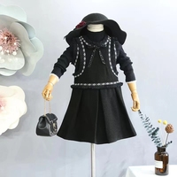 6437 Fashion Black Princess Sleeveless Baby Girls Dresses 2018 Autumn Winter Kids Dresses For Girls Wholesale baby girl clothes