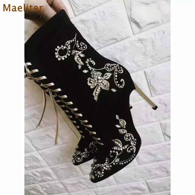 Women Lace-up Black Red Embroidered Boots Suede Pointed Toe Dress Boots Metal Thin High Heels Floral Bling Bling Crystal Boots ethnic embroidered black cami dress for women