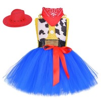 Kids Halloween Costume Cowboy Cowgirl Girls Tutu Dress With Hat Scarf Set For Girl Sequin Fancy Tulle Girl Birthday Party Dress