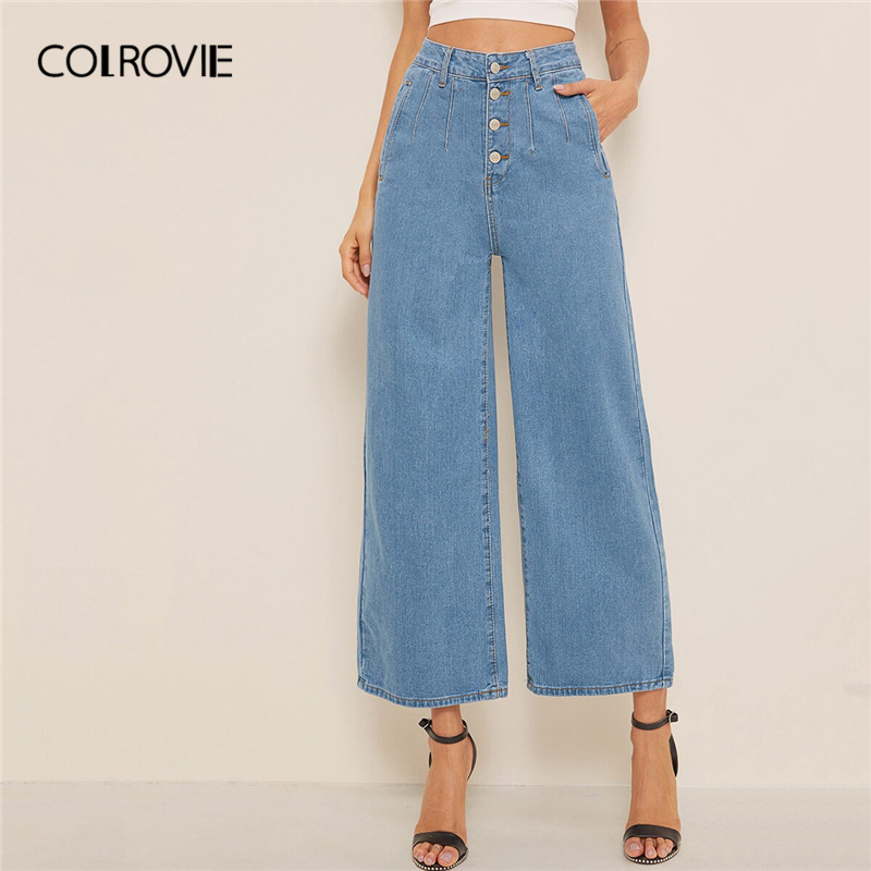 COLROVIE Blue Solid Button Fly Pocket Wide Leg Crop Denim Jeans Woman 2019 Summer Streetwear Casual Loose Boyfriend Pants
