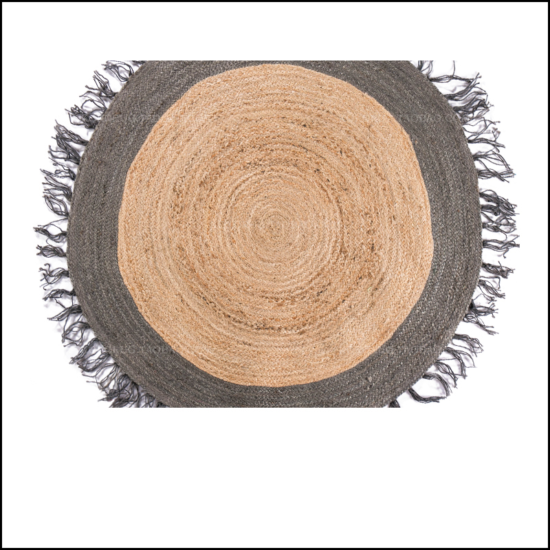 Ins chaud Kilim jute fait à la main tapis rond géométrique bohême maroc tapis indien plaid rayé design moderne style nordique salon - 3