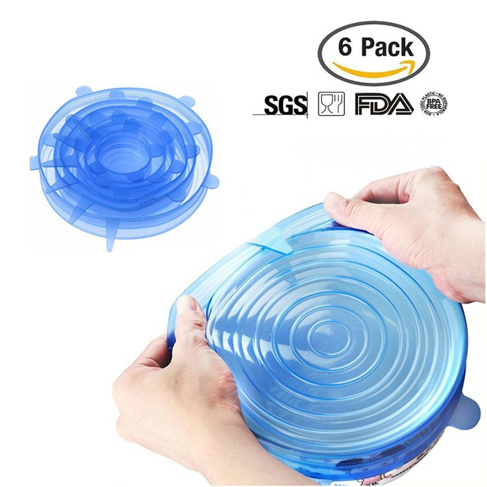 6pcs/set Food Fresh Lid Cover Reusable Silicone Saran Wrap Sealed Bowl Cup Covers Kitchen Vacuum Seal Lids Wraps Stretchable