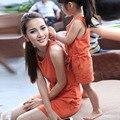 2016 Новая Мода Соответствующие Мать Дочь Одежда Летние Платья Хлопок O-образным Вырезом Принцесса Мама и Дочь Платье Vestidos Infantis