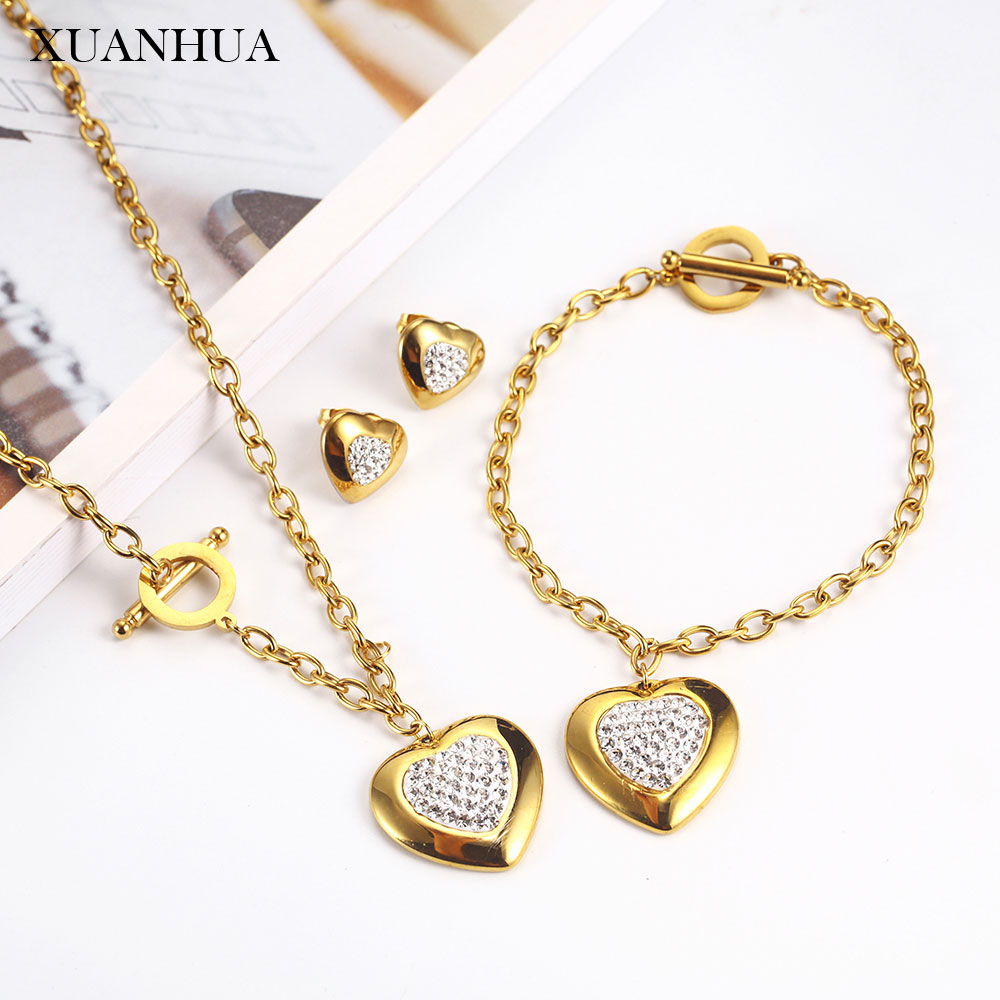 XUANHUA Stainless steel Jewelry Sets Charm Heart Necklace Earrings Bracelet Set  For Women Fashion Jewellery 2019 Mass Effect