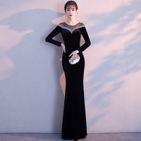 Black Women Slim Noble Rhinestone Mermaid Dress Sexy Thin Full Length Banquet Gowns Elegant O Neck Long Sleeve Evening Cheongsam