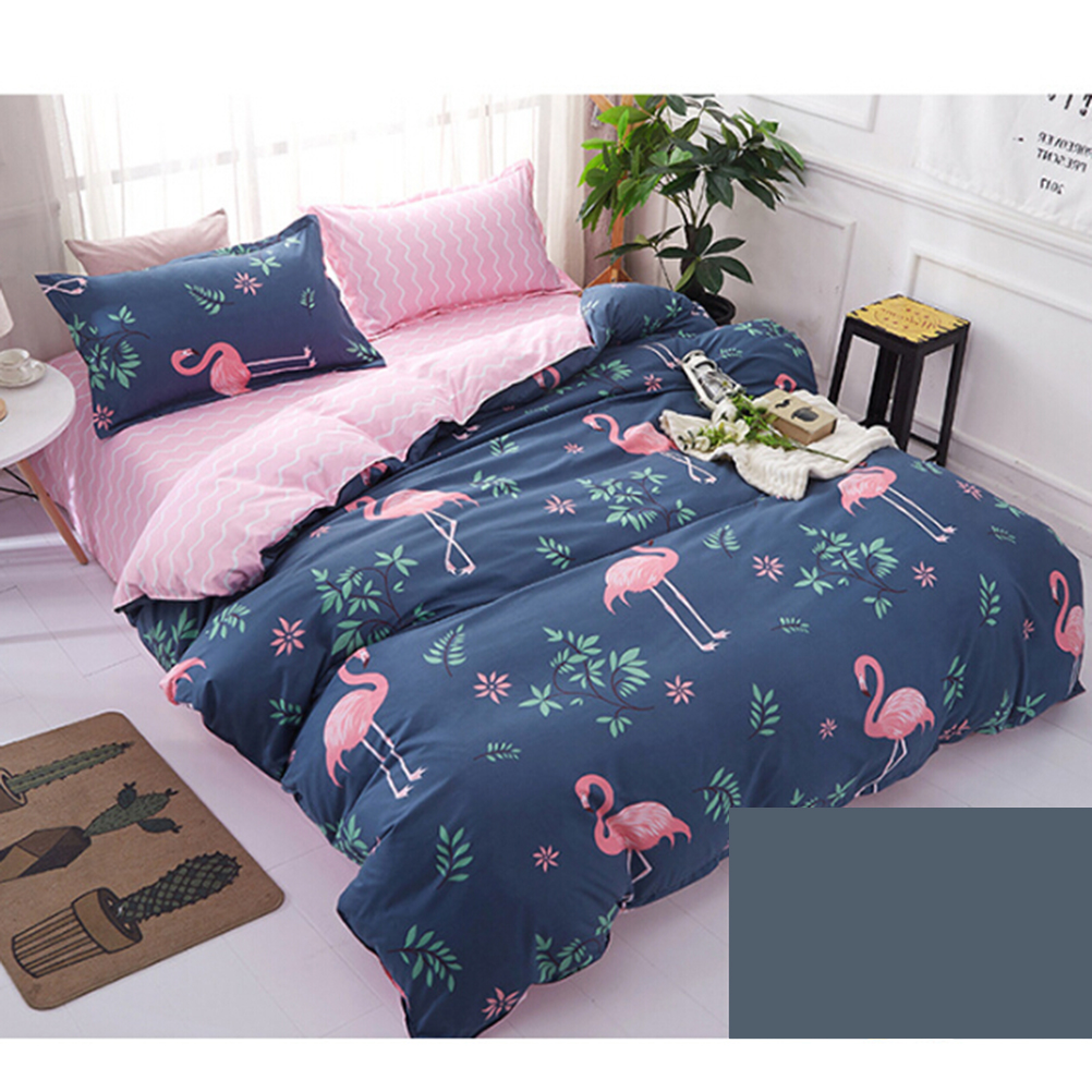 4 Pcs Comfy Premium Bedding Set Soft Comforter Set Simple Style Bed Sheets  No Filling 150 X 200 Cm(Flamingo Blue) In Party DIY Decorations From Home  ...