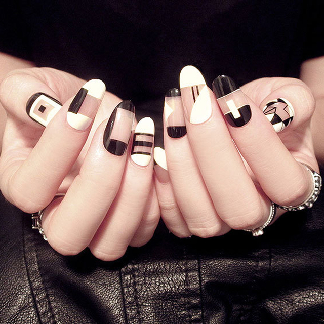 Estilo coreano negro y rosa falsa uñas 24 unids sin pegamento puro ...