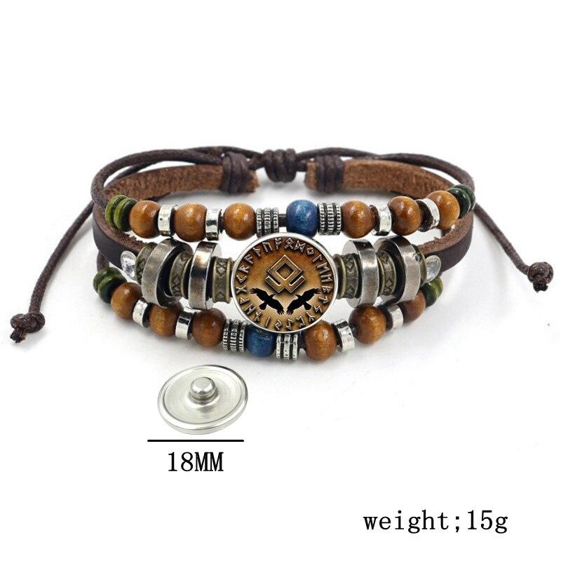 Bracelet Viking perles multicouche en cuir corde verre dôme 4