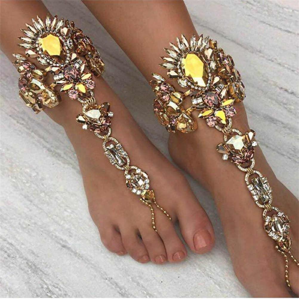 Pixnor結晶アンクレット足チェーンの宝石裸足サンダル装飾用ビーチウェディングパーティーfavours
