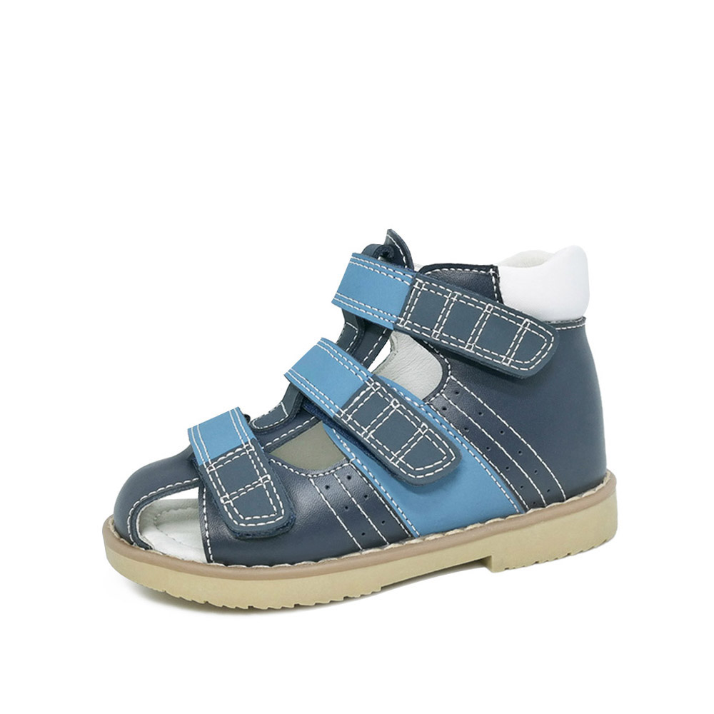 Little Kids Boyss Mixed Color Hook&Loop Orthopedic Sandals Spring Summer Ankle Brace Closed-toe Shoes