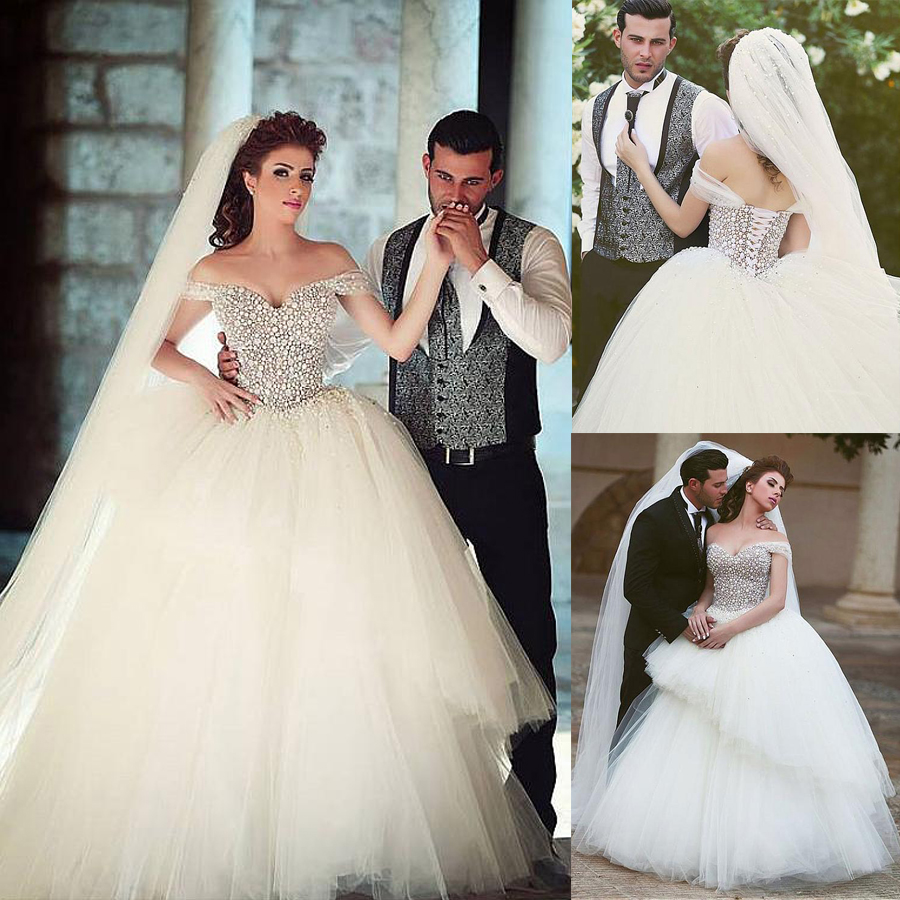 Brilliant Tulle Off-the-Shoulder Neckline Ball Gown Wedding Dresses With Beadings & Rhinestones Lace Up Bridal Gowns