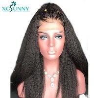 Xcsunny 180% Плотность 13X6 бразильские Синтетические волосы на кружеве человеческих волос парики для Для женщин натуральный черный с ребенком во