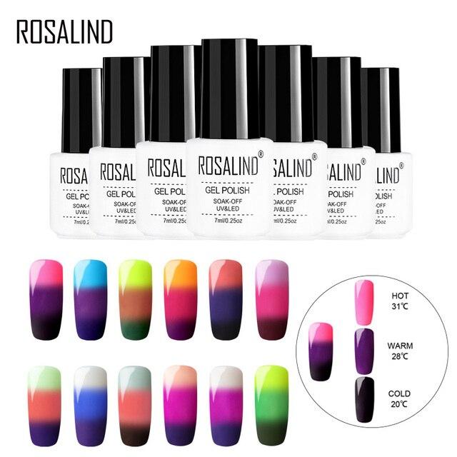 ROSALIND Nail Gel Temperature Change Color UV Vernis Semi Permanant Gel Nail Polish Hybrid Nails Art Manicure Set