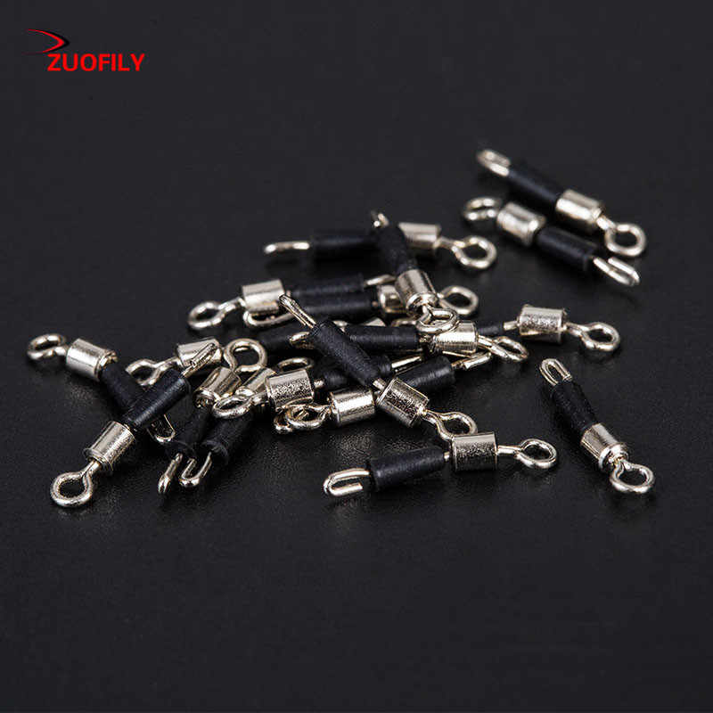 30pcs Ball Bearing Swivel Solid Rings Fishing Connector Hooks Quick Fast Link