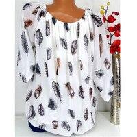 Women's Shirts Popular Fashion Summer Feather Print Women Blouses V neck Print Chiffon Sexy Tee Shirt Casual Women's Shirts