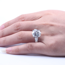 Genuine 14K 585 White Gold 8 Carat F Color Lab Grown Moissanite Diamond Engagement Wedding Ring Test Positive Diamond For Women