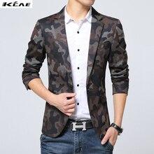 Hot 2016 spring autumn casual Blazer men tidal current Camouflage male slim fit denim suit single button jean jacket coat M-XXXL