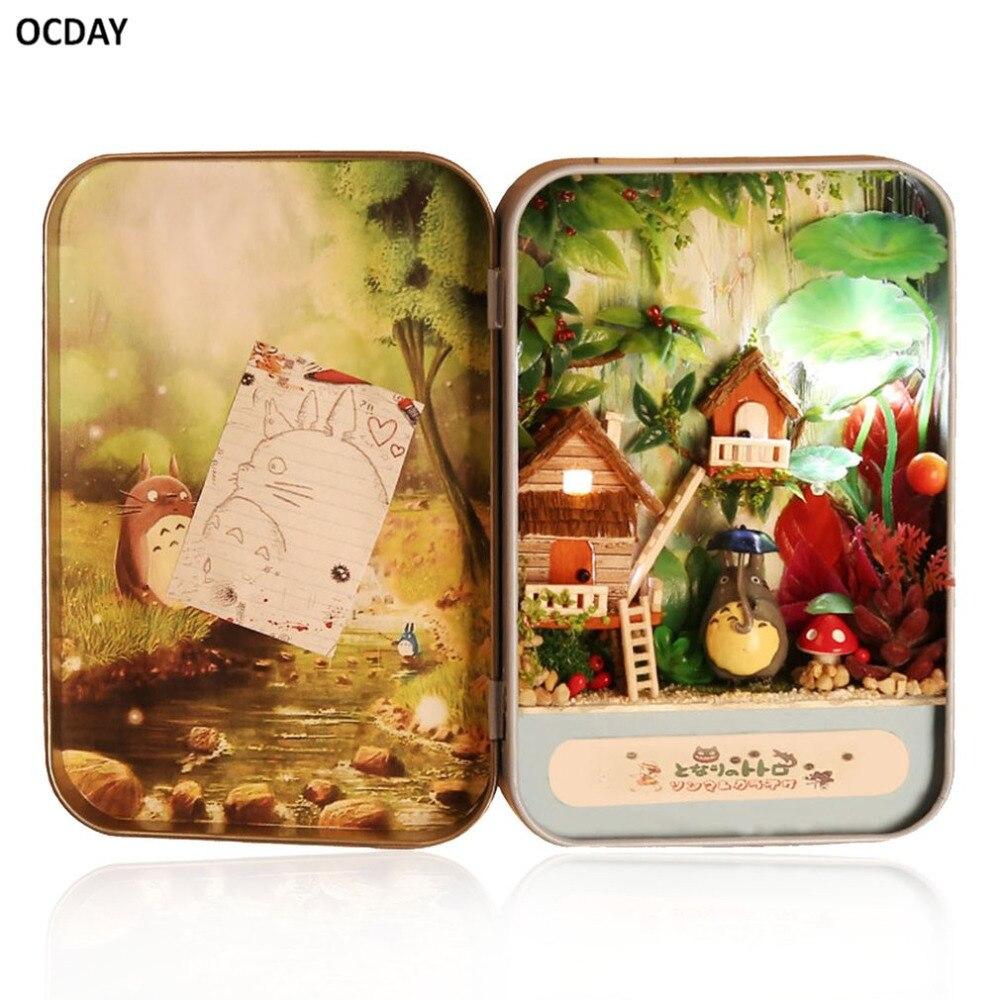ocday diy mini casa de muecas caja triloga teatro muebles miniaturas de casa de muecas en