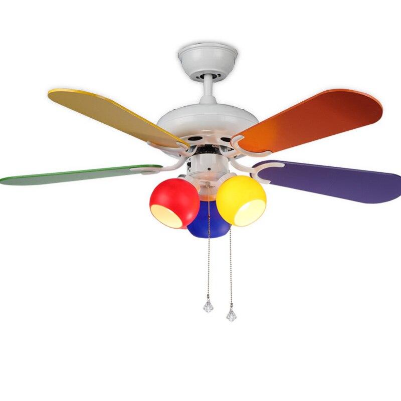 Coloré plafond lampe avec ventilateur Moderne simple enfants chambre salon multicolore contreplaqué ventilateur lampe déco pendentif lampe