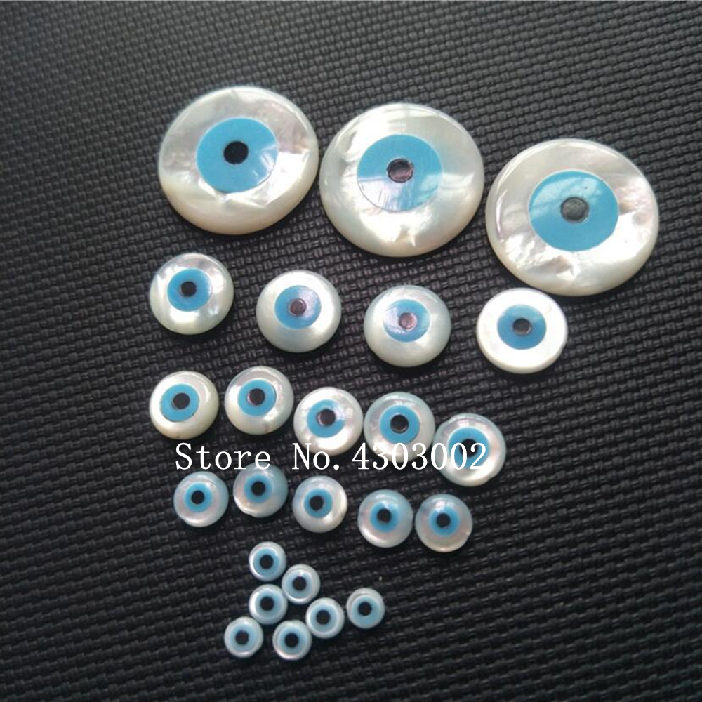 60pcs lot Undrilled Natural Round Blue Evil Eye Mother of Pearl shell for DIY Jewelry Round