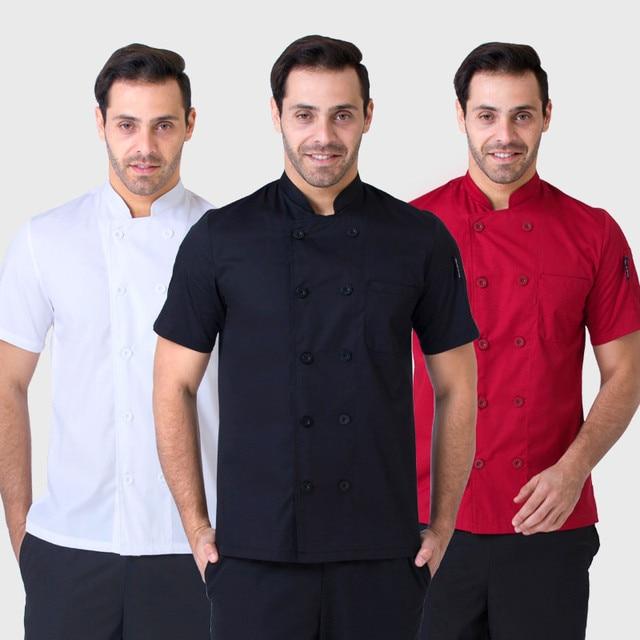Verano manga corta chefs uniforme transpirable red chef camisa 2018 nueva malla especial fresco chef uniforme blanco camarero barato ropa de trabajo