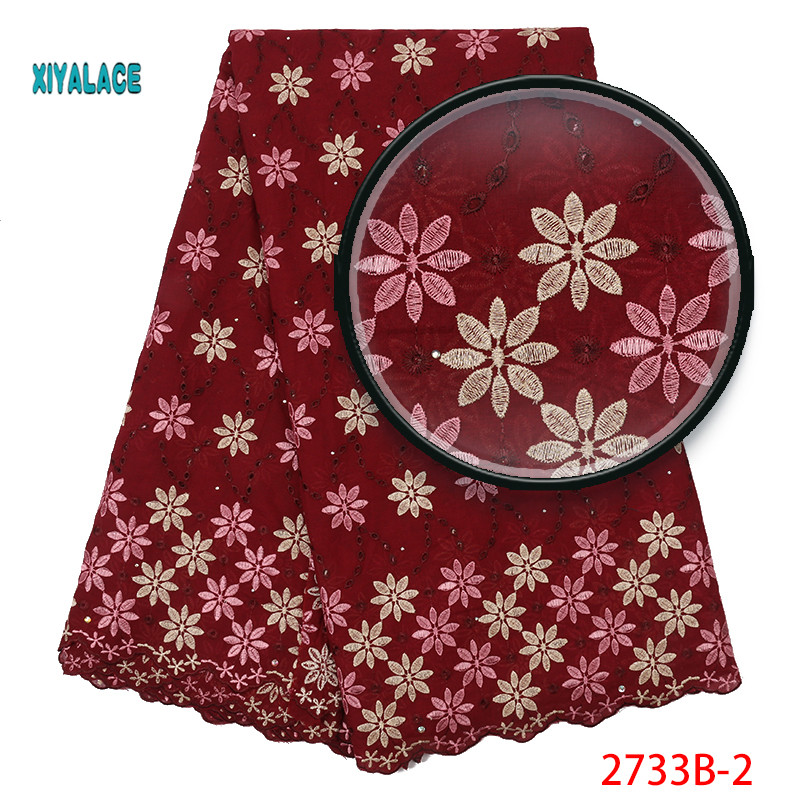 2019 African Lace Fabrics Nigerian Swiss Voile Lace High Quality French Stones Voile Lace Switzerland For Wedding YA2733B-2