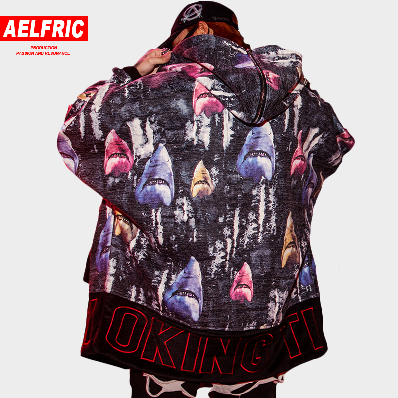 Aelfric Shark 3d Print Parkas Jackets Coats Male Fashion Casual Streetwear Animal Zipper Sleeve Parka Tide Hip Hop Outwear Ap51 Soft And Antislippery