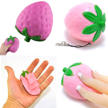 Squishy Toy Strawberry Fake Fruit Anti Stress Jokes Gadgets Squeeze Jumbo Scented Slow Rising Phone Straps Acces Children