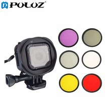 6 in 1 58mm ND2 + UV + FLD + CPL Lens Filter + Red & Yellow Lens Filter W/ Filter Adapter Ring Kit for GoPro HERO4 Session