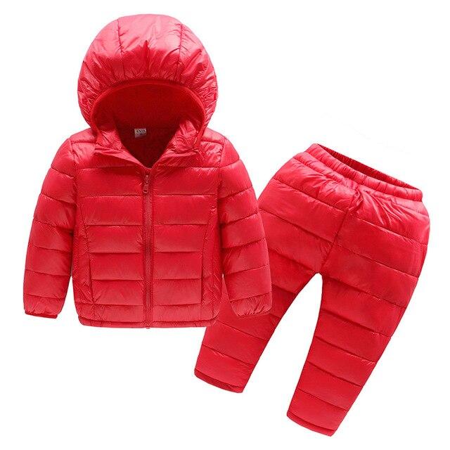 الخريف الشتاء الأطفال مجموعة ملابس 2 قطعة القطن وسادة مبطنة + السراويل طفل الفتيان الفتيات معطف دافئ الاطفال سراويل شتوية الدعاوى للفتيات