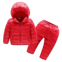 סתיו חורף בגדי ילדי סטי 2Pcs כותנה מרופדת + מכנסיים תינוק בני בנות מעיל חם ילדים חורף מכנסיים חליפות בנות