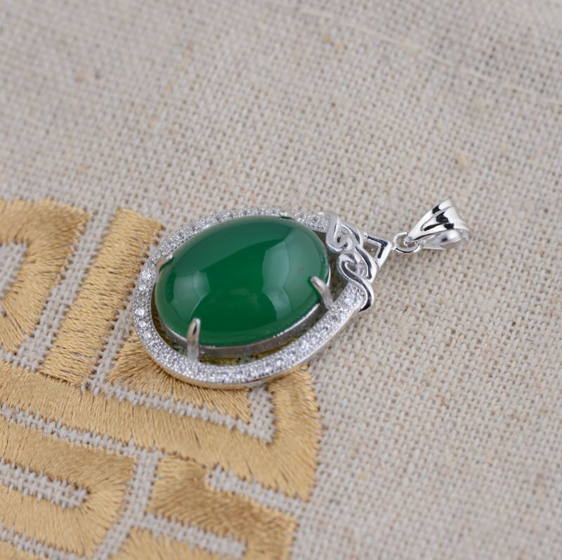 [silver] deer King green chalcedony Pendant S925 sterling silver wholesale air female micro / electroplating process