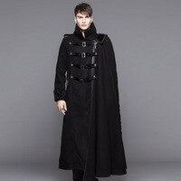 Дьявол мода стимпанк Высокий воротник черный длинный плащ пальто для Для мужчин Готический толстые пальто со съемной мыса зимой носить