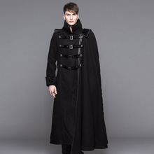Devil Fashion Steampunk High Collar Black Long Trench Coat for Men Gothic Thick Overcoats with Detachable Cape Winter Wearing