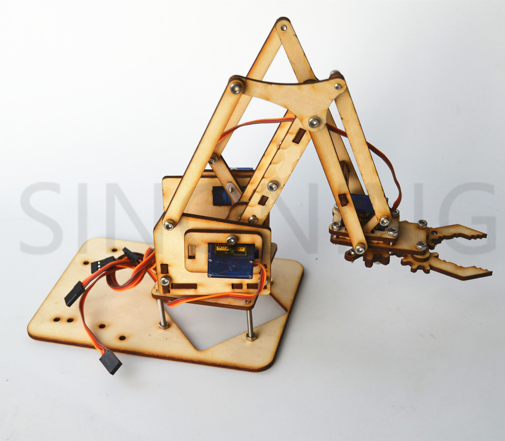 4 DOF wood robotic arm sg90 Servo FOR arduino raspberry pie SNAM1500 4 dof wood robotic arm sg90 servo for arduino raspberry pie snam1500