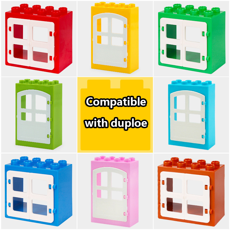 DIY House Big Particles Building Blocks Compatible LegoINGS Duploe Basics Accessory Movable Window Door Set Bricks Kids Toys (4)