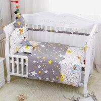7pcs/set Four Seasons Cartoon Breathable Crib Linens Baby Cot Bedding Set Including Bumpers Crown Headrest Sheet Pillow Quilt