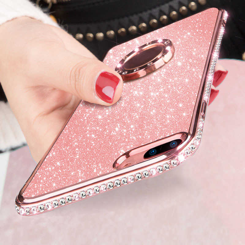 Nova 3 3i Glitter Diamond Case Cover for Huawei Nova3 Nova3i P20 Mate 10 20 Lite Pro Honor 7X 8X Finger Ring Holder Soft TPU