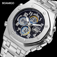 BOAMIGO brand watches men sports watches dual display digital quartz watches stainless steel band wristwatches Relogio Masculino cheap Quartz Wristwatches Dual Display Quartz Alloy 24cm Bracelet Clasp 3Bar Complete Calendar Shock Resistant Stop Watch LED display Auto Date Week Display Water Resistant Back Light Chronograph Multiple Time Zone Alarm Perpetual Calendar