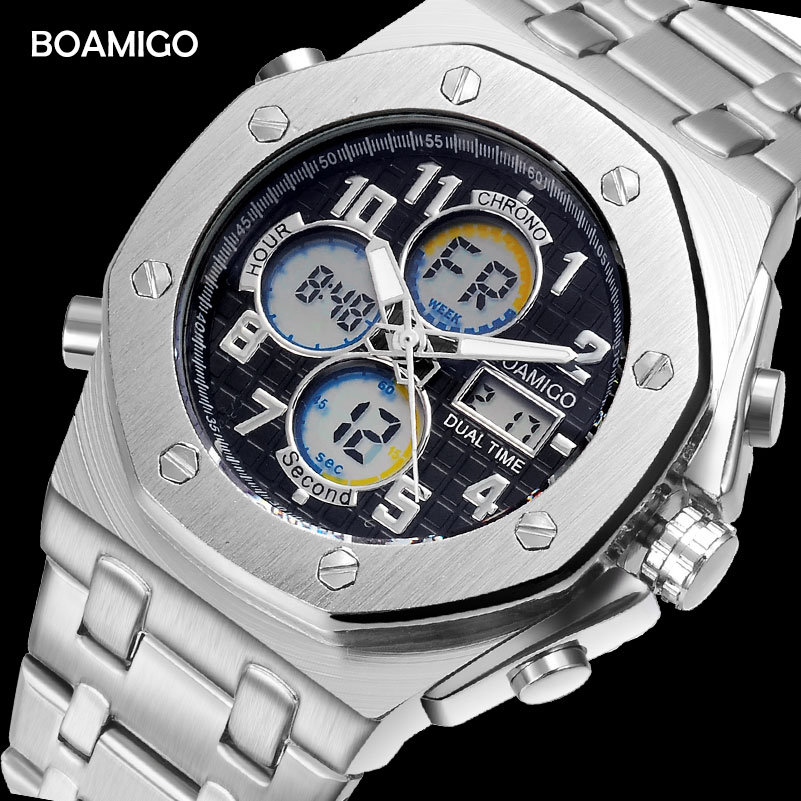 BOAMIGO brand watches men sports watches dual display digital quartz watches stainless steel band wristwatches Relogio Masculino men dual display watches fashion sports watches leather digital watches boamigo waterproof quartz gift wristwatches reloj hombre