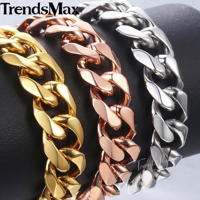 Trendsmax Men Bracelets Stainless Steel Bracelet Gold Silver Rose Gold Curb Cuban Link Chain Bracelet Men's Jewelry 14mm KBM25