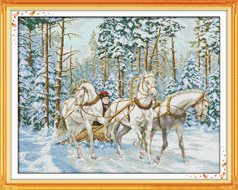 The cart go through the snow Counted Cross Stitch 11CT Printed 14CT Set DIY Chinese Cross-stitch Kit Embroidery Needlework