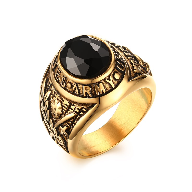 Mprainbow Men\'s Military United States Army Ring Oval Glass Stone ...