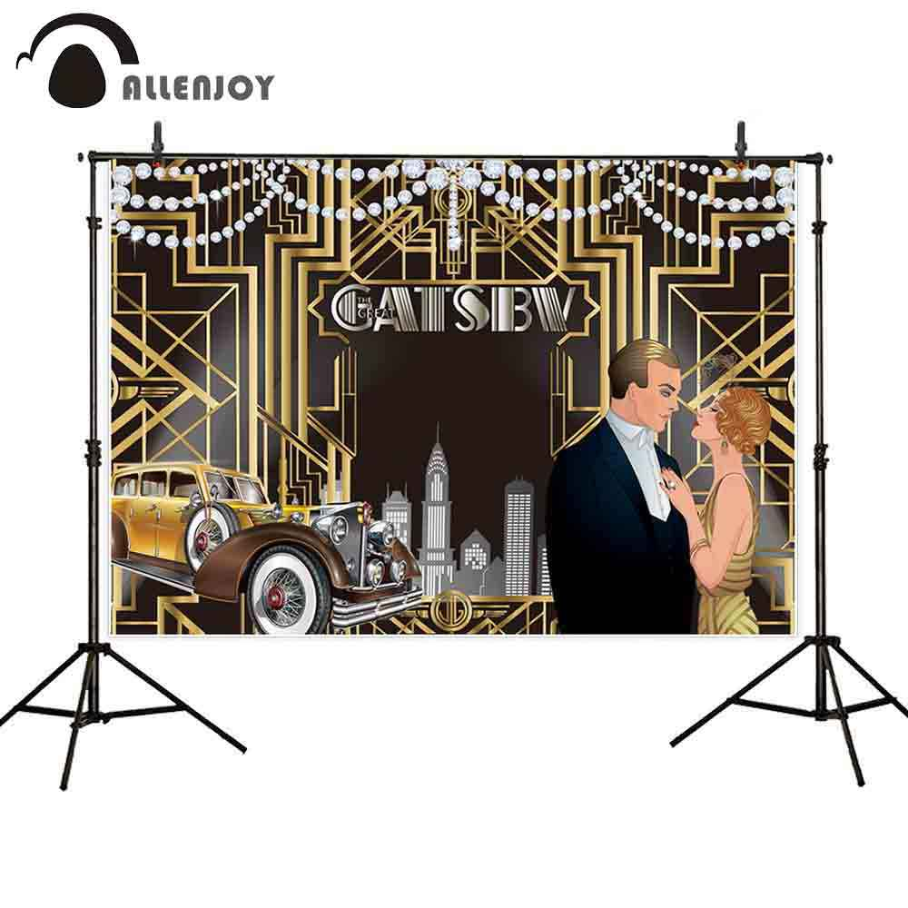 Allenjoy background for photo studio Gatsby shiny diamond party cars line birthday photocall photobooth decor studio shoot prop