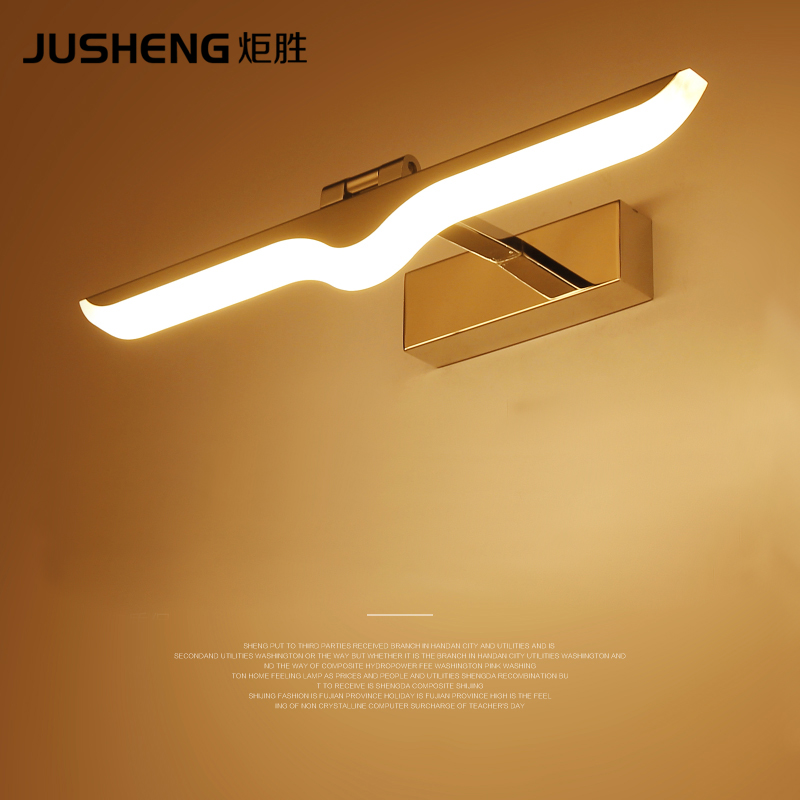 JUSHENG Modern Led Wall Lamp Chrome Sconce For Indoor Bathroom Living Room Mirror Lights fixtures 100-240V